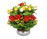 PG Creations Artificial Rose Flower Plant Bunch with Stainless Steel Vase Pot, Height 35 cm, Yellow