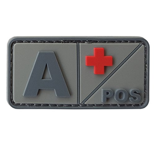 2AFTER1 A POS ACU Subdued Blood Type Morale Tactical PVC Rubber 3D Hook&Loop Patch - Blood Type Patches