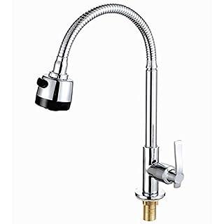 Kitchen Bar Waschbecken Mischbatterie Flexibel Biegsamen Wasserhahn 360 ° Drehwirbel & Frühling Auslauf Herausziehen Single Kaltwasser Schwenkhahn mit Sprayer