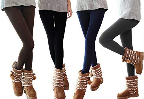 Set 5 leggings donna effetto termico interno felpato elasticizzato collant winter fuseaux. MWS (S/M)