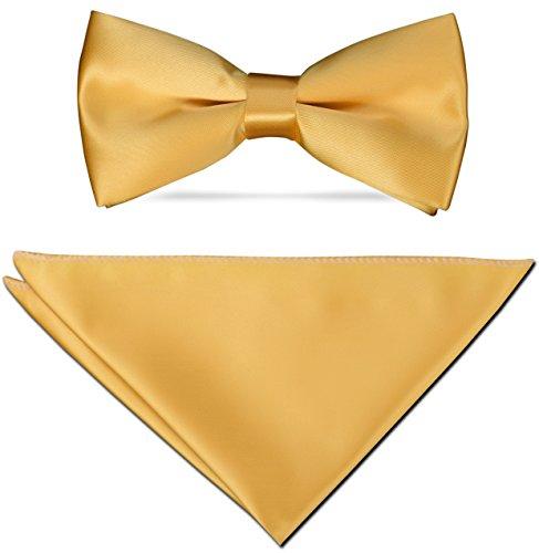 Fliege Herren - aus feinem Edel Satin + Einstecktuch + Geschenkkarton - 40 Farben zur Auswahl (Gelb)