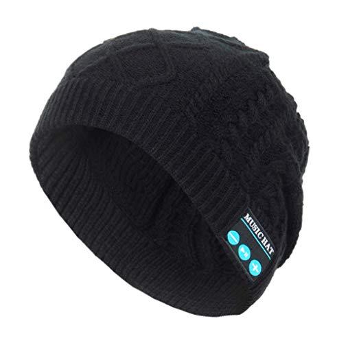 Vanvo Unisex Bluetooth Wireless Headset Music Beanie Knit Hat with Speakers (Black) -