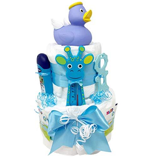 """Windeltorte Badeentchen\""""Hugo\"""" Blau -30tlg.-Geschenk zur Taufe oder Geburt Geschenkfertig in Celophan verpackt. Auf Wunsch mit kostenlosen Grußkärtchen und Wunschtext. Junge (Blau)"""