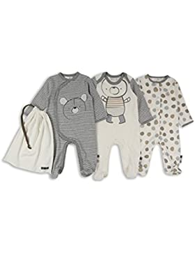 The Essential One - Baby Unisex Bär Schlafanzug/Einteiler/Strampler (3-er Pack mit Beutel) - Grau - ESS209