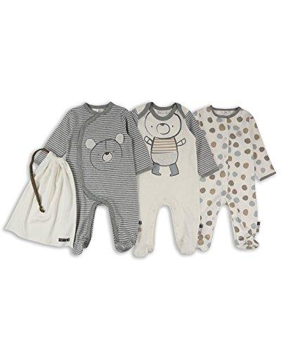 The Essential One - Baby Unisex Bär Schlafanzug/Einteiler/Strampler (3-er Pack mit Beutel) - 68/74cm | 6-9m - Grau - ESS209