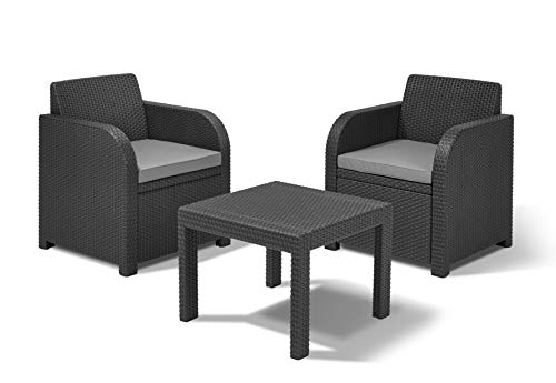 Allibert by Keter Atlanta 2-Seater Rattan Balcony Bistro Set Outdoor Garden  Furniture - Graphite with Cool Grey Cushions
