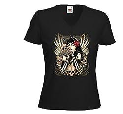 Mexican Damen T-Shirt Gothic Skull Girl Rockabilly Tattoo V8 Muertos Gr.M