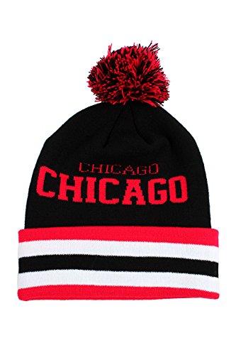 Chicago Pom Pom Chapeau Bonnet de ski - Noir - Taille unique