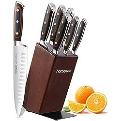 homgeek Set de Couteaux, 7 Pièces Couteaux de Cuisine avec Bloc en Bois, Bloc de Couteaux avec Lame en Acier Inoxydable