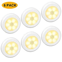 6 Packs Motion Sensor Light, Cordless Battery-Powered LED Night Lights for Hallway Bathroom Bedroom Kitchen, Closet Lights Stair Puck Lighting(Warm White)