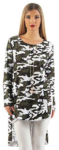 ge Stretch Damen Langarm Vokuhila Bluse Hemd Shirt Sweatshirt Oberteil Tops Inkl. Kette 8420 In Größe S, M, L, XL, XXL (S, Weiß) (Mädchen Klamotten Shoppen)
