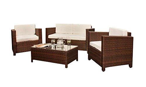 999209769d17 Comfy Living Rattan 4 seat Wicker Weave Garden Furniture Conservatory Sofa  Set Dark Brown - Buy Online in Oman. | comfy living Products in Oman - See  Prices ...