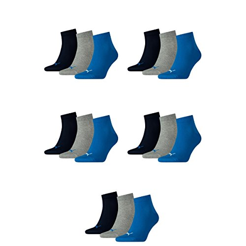 15 pair Puma Sneaker Quarter Socks Unisex Mens & Ladies 277 - blue / grey mélange