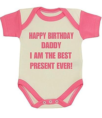 BabyPrem bébé Joyeux anniversaire Papa Meilleur Présent Vêtements jamais Les body à NB-12 MTH Bonbon Rose 3-6