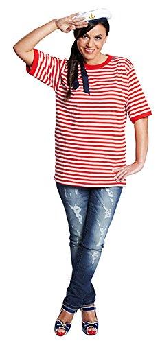 Ringelshirt kurzarm rot-weiß gestreift Unisex Shirt Oberteil Karneval ()
