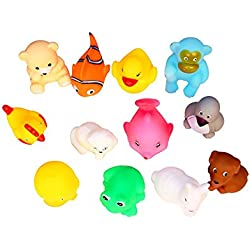 Vistaratrade Non-Toxic Soft Animal Bath Toys Set Of 12 Multi-Color