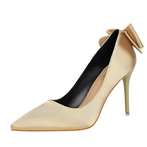 AalarDom Femme Stylet Pointu Tire Couleur Unie Chaussures Légeres Doré-Matériel de Soie