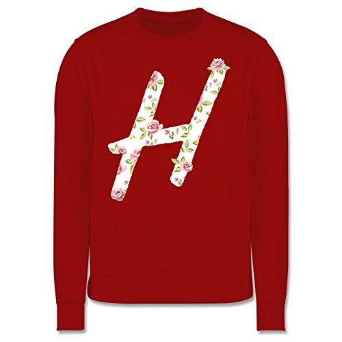 Anfangsbuchstaben - H Rosen - Herren Premium Pullover Rot