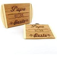 Frühstücksbrettchen Papa ist der Beste - Frühstücksbrett Stullenbrett Holzbrett Name Geburtstagsgeschenk - Weihnachtsgeschenk - Vatertagsgeschenk
