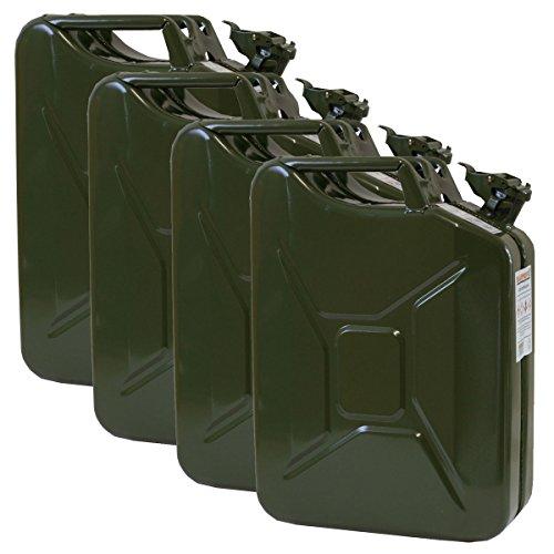 4er Set 20 Liter Benzinkanister Metall GGVS mit Sicherungsstift Oliv Blechkanister