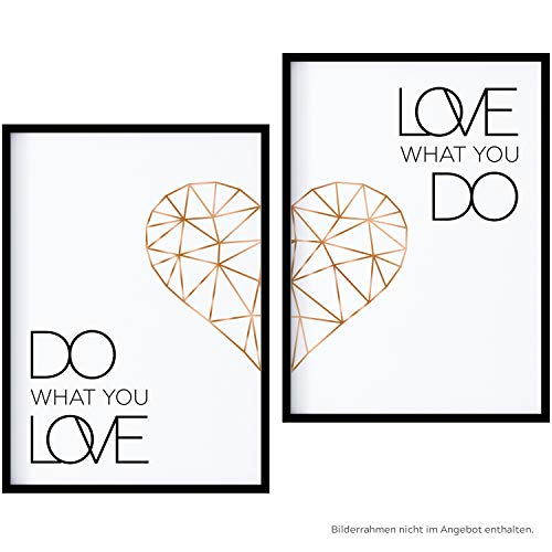 POSTER-SET mit Spruch DO WHAT YOU LOVE 50x70 mit Herz in Rose-Gold | BILDER-SET XXL Typographie | WAND-BILD | STATEMENT Zitat Sprüche Schriftzug Liebe | WANDDEKORATION schwarz weiß | WAND-DEKO POLYGON