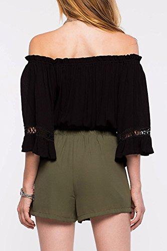 Frauen locker 3/4 Ärmel ab Schulter Crop Tops T-Shirt Black