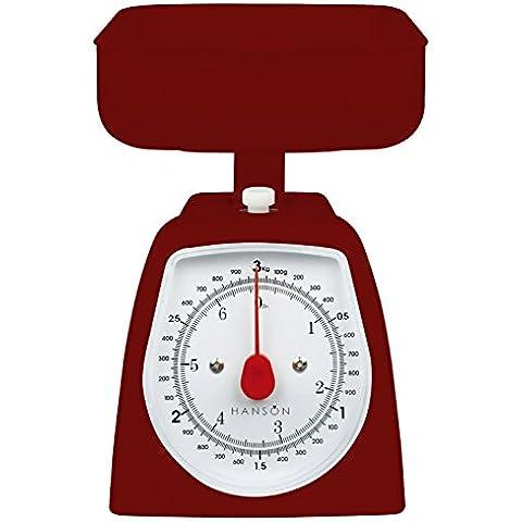 Hanson H005 - Bilancia da cucina meccanica, 3 kg, misura media, colore: rosso