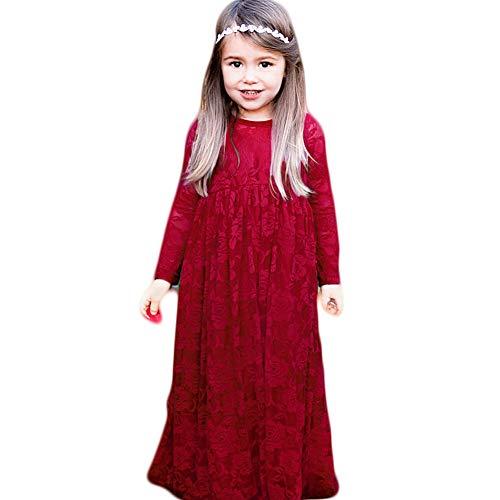 (CQDY Prinzessin Spitzenkleid für Mädchen Weiß Hochzeit Blumen Kleid Partykleid mit großen Bogen (4-5 Jahre(110cm), Weinrot))