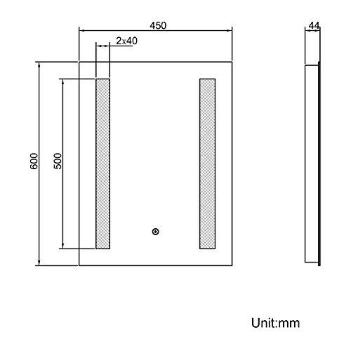 Badspiegel 45x60cm Spiegel (eckig) mit energiesparender LED-Beleuchtung kaltweiß IP44 mit Sensor-Schalter - 5