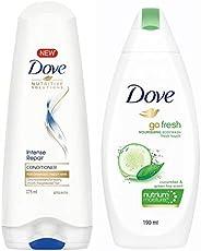 Dove Hair Therapy Intense Repair Conditioner, 175ml & Dove Go Fresh Nourishing Body Wash, 190ml