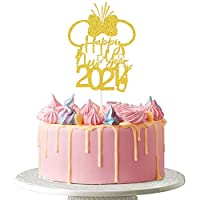 Happy New Year 2021 Cake Topper - Hello 2021, Welcome 2021, Cheers to 2021, New Year's Eve Holiday Party Decoration, Gold Glitter