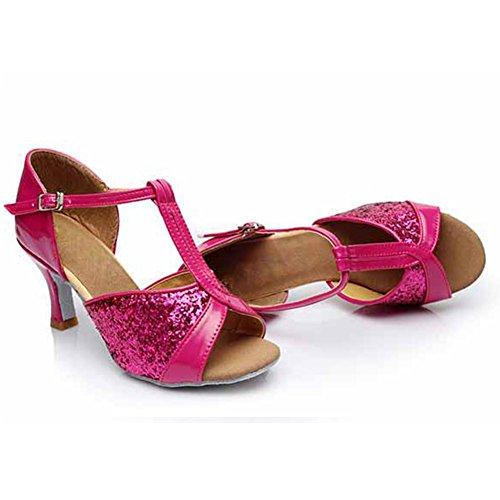 HROYL Damen Tanzschuhe/Latin Dance Schuhe Satin Ballsaal Modell-D7-259 7CM Pink