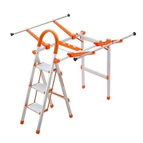 Wäscheständer, Mehrzweck-Haushaltsleitern Indoor-Leiter-Stuhl-Trittleiter Klapp-Trittleiter Für Erwachsene Mit Wäscheständer 3 Stufen Für Die Küchenreinigung,Orange