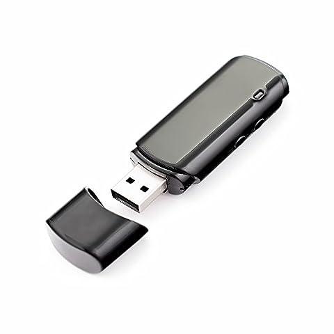 SPY Cle USB Camera Caché + Enregistreur vocal | Jusqu'à 32Go | Mode audio- 25 heures | Mode vidéo- 5h | Caméra Portable Espion avec Micro Enregistreur | MIC-FD25