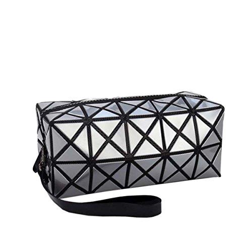 Sac Cosmétique Pochettes De Maquillage Outil Grille De Rangement Cube Sac à Main Géométrique Foldable Rhombus Fourre-tout Bourse Sacs De Toilette,Silver