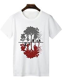 Yuanu Uomo Morbido Confortevole Casual Straight T-Shirt Manica Corta  Girocollo Magliette con Cartoon Stampa d8c13e46b2f0