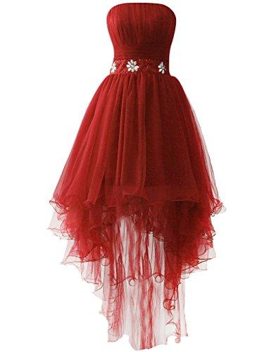 JAEDEN Sans bretelles Tulle Robes de bal Longue Robe de soir¨¦e Robe de f¨ºte Rouge