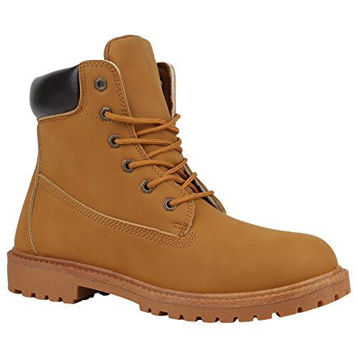 Herren Worker Boots Bequeme Outdoor Schuhe Profil Leder-Optik 152283 Hellbraun Cabanas 42 Flandell