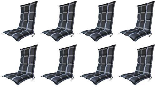 Madison 8 x 8 cm Luxus Hochlehner B 255', schwarz grau kariert, 120 x 50 x 8 cm