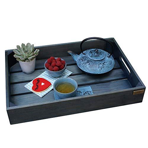 Liza Line Holz TABLETT mit Griffen, Vintage Holzkisten Stil. Frühstück, Serviertablett. Massive Kiefer - 50 x 35 x 8 cm (Petroleum Blau) -