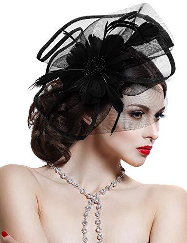 Damen Elegant Fascinator Haar Clip Accessoire Mesh Bänder Federn Hochzeitskirche Kopfbedeckung Feder-clip