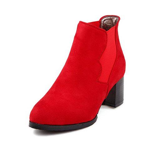 VogueZone009 Donna Tacco Medio Bassa Altezza Puro Elastico Stivali Rosso