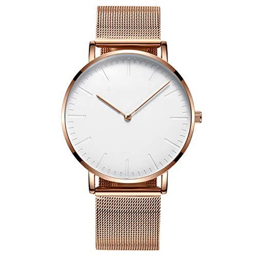 Liandd Art- und Weiserosengoldliebhaber passt Männer Qualitäts-Ultra dünne Quarzuhr-Frauen-Elegante Kleid-Damen-Uhr auf,Gold White