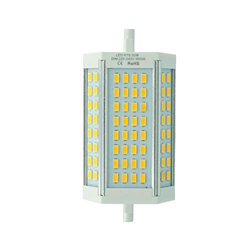 30W R7s LED dimmbare 118mm Lampe Warmweiß 3000K zweiseitige Sockel R7s Leuchtmittel 200 Grad 1-Stück Ohne Lüfter MEHRWEG ...