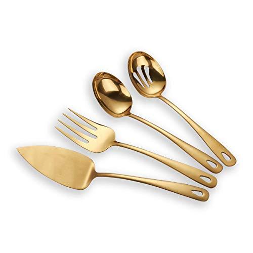 Berglander Edelstahl Golden Titan Plated Besteck Servier Set 4 Stück, Kuchen Server Cold Meat Gabel durchbohrt Servierlöffel Servierlöffel, goldenes Besteck Set (glänzend, Golden)