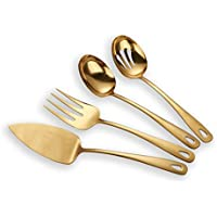 Berglander de acero inoxidable dorado de titanio plateado juego de cubiertos 4 piezas, servidor de la torta de carne fría tenedor perforado cuchara de servicio cuchara (brillante, dorado)