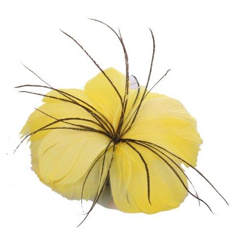 Tocado Joya Adorno de Plumas para Pelo Vestido en Forma de Flor (Amarillo brillante)