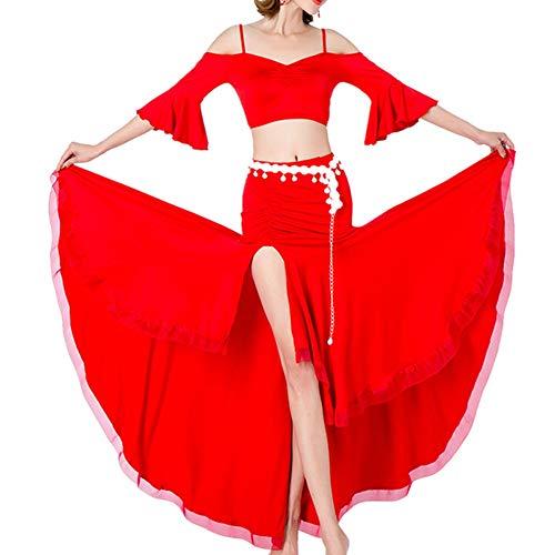 Partner Kostüm Dance - Yinglihua Bauchtanz Kleid Bauchtanzrock Frauentanz for indischen Tanz Bauchtanzübungskleidung ohne Gürtelset Damentanzkostüm (Farbe : Rot, Größe : M)