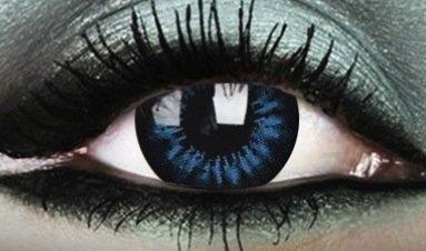 Crazy Beauty Colour Color Contact Lens lenses Farbig Kontaktlinsen lentille for Halloween XMAS Party Cosplay 15mm (((COOL BLUE))) kühlem Blau parti vert Schönheit beauté Big eyes große Augen grands yeux uk
