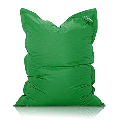 Livodoo® Premium XXL Riesen-Sitzsack in Dunkelgrün 140 x 180 cm Indoor Outdoor mit Innensack 400l-Füllung-Sitzsack-Indoor-Outdoor mit Innensack Sitzkissen Bodenkissen Kissen Sessel BeanBag Sitzsack XXL
